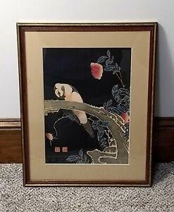 Vintage Japanese Woodcut Parrot on Branch of Flowering Rose Bush Itō Jakuchū