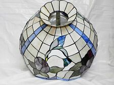 """Vtg Faux Tiffany Stained Glass Hummingbird & Flower Purple Blue Lamp Shade 20"""""""