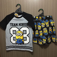 BNWT Boys Sz 10 Despicable Me Minions Black/Grey Short Summer PJ Pyjamas Set