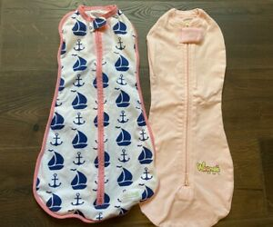 LOT WOOMBIE Pink Air Lil Houdini Newborn 5-13 LBS Wearable Swaddle Blanket Boat