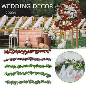 Artificial Garland Faux Silk Eucalyptus Vines Wreath Greenery Wedding Wall Decor