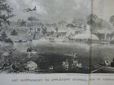 1869 View of Terrace and Lake, Central Park, New York Appletons' Journal, more