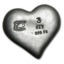 3 oz Silver Heart - Bison Bullion - SKU #80460