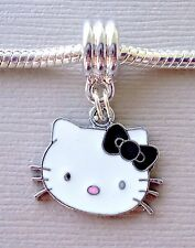 Pendant Dangle Black Hello Kitty fits European Charm Bracelet or Necklace C115