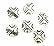 25 SILVER PLATED SPIRAL COIN BEADS 12MM