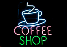 "Neon Light Sign 24""x20"" Coffee Shop Open Espresso Cafe Glass Decor Bar Lamp"