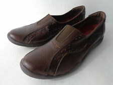 HUSH PUPPIES 100% Relax Womens 11M Brown Leather Slip On Casual Walking Shoe