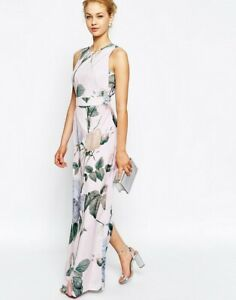 TED BAKER Distinguishing Rose floral print maxi dress gown wedding party 2 10 S