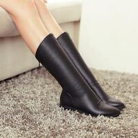 Fashion Womens PU Mid Calf Boots Low Block Heel Back Zipper Winter Preppy Shoes