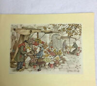 New Anton Pieck Vintage 1970 Donald Art Co, Flower Stall Painted In Holland