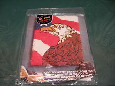"Vintage Red Heart American Eagle 18"" x 24"" Latch Hook Rug Pattern #6673-01"