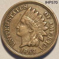 1862 Indian Head Penny Cent Die Crack