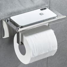 Toilet Paper Holder w/ Storage Shelf Rolls Tissue Roll Dispenser Stainless Wall