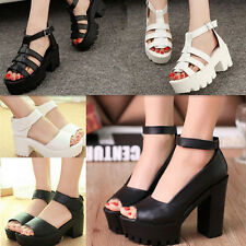 Fashion Women Shoes Peep Toe Platform High Heel Gladiator Sandals Chunky Boots