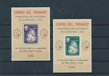 LL93914 Paraguay 1963 perf/imperf red cross sheets MNH
