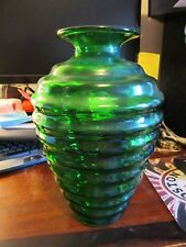 Large Vintage Forest Green Glass Whirly Twirly Vase 10.5 inches tall