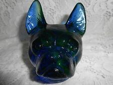 New listing Blue Vaseline uranium glass Boston Terrier french bulldog pit bull cobalt / dog