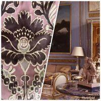 Novelty Italian Burnout Upholstery Chenille Velvet Fabric Plum Pink Beige