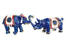 Feng Shui Brass Metal Blue Elephant & Rhino with Talisman Feathers Anti-Robbery