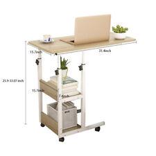 Height Adjustable Bed side Snack Table Laptop Desk Stand Rolling Cart w/ Shelves