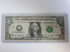 $1 Bill Federal STAR Note VERY LOW Serial Number! VERY LOW PRINT 80,000 SHEETS!!