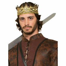 Crown Medieval Style King Gold Lame' Fabric Costume Crown W/ Embroidery