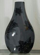 FdC France for Roche Bobois Slate Gray Floral Design Ceramic Vase