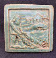 "Pewabic Art Pottery 1995 Detroit Fishing Village Hanging Tile 3 7/8"" Green"