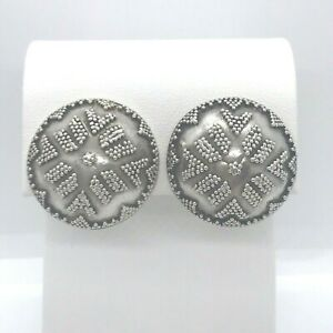 .925 Sterling Granulation 14K Yellow Gold Posts Omega Clip Pierced Earrings