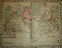 Vintage 1869 WORLD MAP on the MERCATOR PROJECTION Old Antique & Original