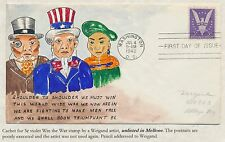 "#905 ON WEIGAND ARTIST FDC HANDPAINTED ""WIN THE WAR"" CACHET BS2913"