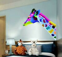 Colorful Giraffe Head Concept Pop Animal Wall Decal Art. Peel and Stick