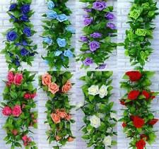 1 X 8Ft Artificial Rose Garland Silk Flower Vine Ivy Wedding Garden Decoration