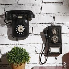 Vintage Booth Telephone Figurine Antique Rotary Wall-mounted  Pay Phone Model