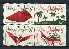 Tonga 2017 MNH Christmas Seashells Trees Bats Whales 4v Block Stamps