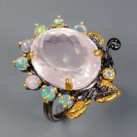 Rose Quartz Ring Silver 925 Sterling Jewelry Fine ART Size 8.5 /R145137