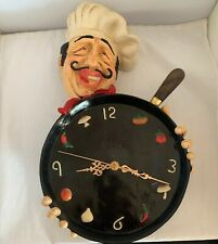 chef kitchen wall clock Allan Agohob Figure Culinarily Peppers Skillet