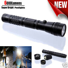 6000Lumens Tragbar Bright Flashlight Pocket LED Penlight Taschenlampen ZOOMABLE