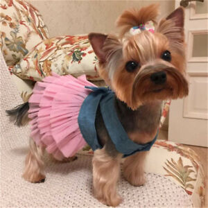 Pet Dog Bow Dress Skirt Puppy Princess Costume Apparel Clothes