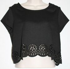 Pins & Needles Urban Outfitters Black Shirt Top Cutout Pattern Exposed Zip EUC M