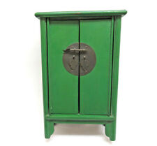 """Vintage Chinese Small Tabletop Green Lacquer Wood Armoire ~ 11"""" Tall"""