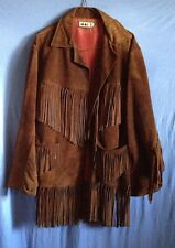 ✌Make a great offer today...️LEATHER Fringed Brown Jacket no buttons 2 gender