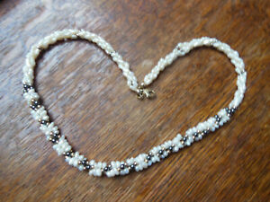 Triple strand freshwater pearl necklace silver gilt clasp and seed beads