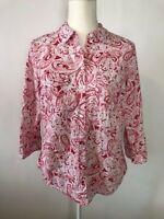 Croft & Barrow Womens Button Down Shirt Top Blouse Size S Pink White Paisley