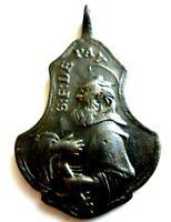 Antikes Schutzamulett Vinzenz de Paul Schutzpatron der Gefangenen Bronze 18.Jh.