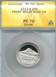 2010-S Proof Mount Hood National Forest Nice Cameo 25C ANACS Authenicated PF70