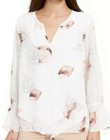 Alfani Women's Blouse White Size Small S Split Neck Bell Sleeve Sheer MSRP $69