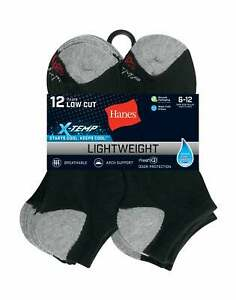 Hanes Low Cut Socks 12-Pack Men's FreshIQ X-Temp Cool Comfort Dry Wicking 6-12