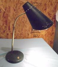 Vintage Retro MCM GOOSE NECK BULLET LAMP SHADE TABLE DESK ATOMIC Blue Metal