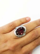 Red Garnet Oval 18.ct and White Cubic Zirconia Round Anniversary Ring 925 Silver